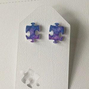 Jewelry - OOAK Autism Awareness Puzzle Piece Stud Earrings